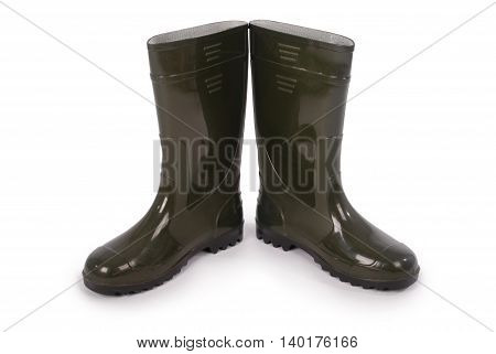 New wellington boots isolated on white background. Photo with clipping path