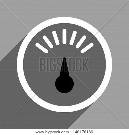 Weight Meter long shadow vector icon. Style is a flat weight meter black and white iconic symbol on a gray square background.