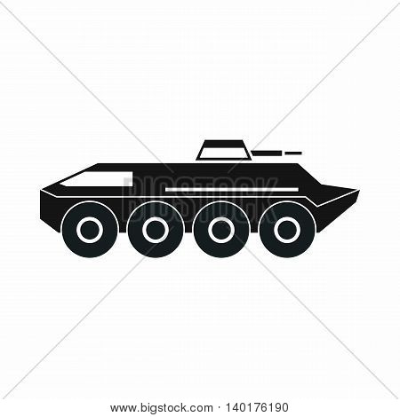 Armored personnel carrier icon in simple style isolated on white background. War machine symbol