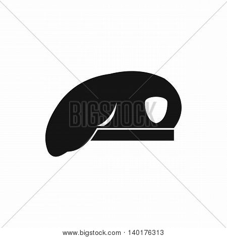 Military beret icon in simple style isolated on white background. Headdress symbol