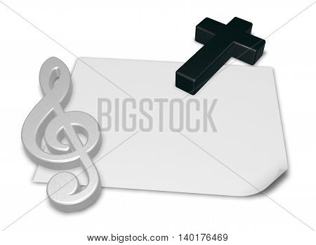 clef and cross on blank white paper sheet - 3d rendering