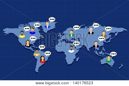 Social Network Vector Concept with people icons . Flat design Illustration for web sites, infographic design.