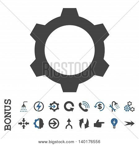 Gear vector bicolor icon. Image style is a flat iconic symbol, cobalt and gray colors, white background.