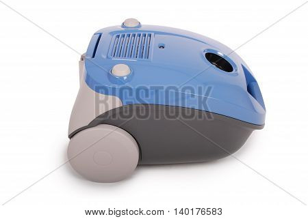 Blue vacuum cleaner isolated on white background. Clipping path inside