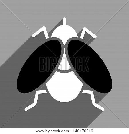 Fly long shadow vector icon. Style is a flat fly black and white iconic symbol on a gray square background.