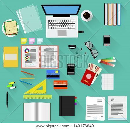 Working place in flat design with long shadow. Constructor with different tools for your own work space. Vector illustration