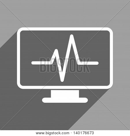 Cardiogram Monitoring long shadow vector icon. Style is a flat cardiogram monitoring white iconic symbol on a gray square background.