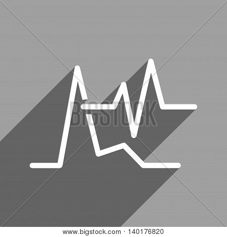 ECG long shadow vector icon. Style is a flat ecg white iconic symbol on a gray square background.