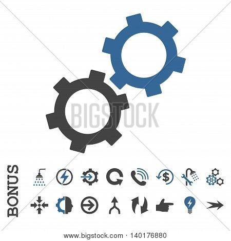 Gears vector bicolor icon. Image style is a flat pictogram symbol, cobalt and gray colors, white background.