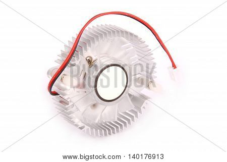 Close-up shot of a computer CPU cooler isolated on white background with soft shadow