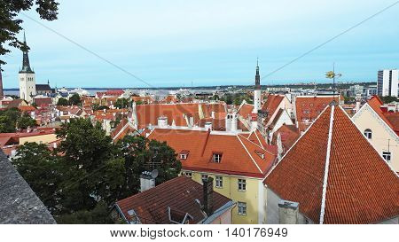 Old town center of Tallinn. View on sunny summer day.
