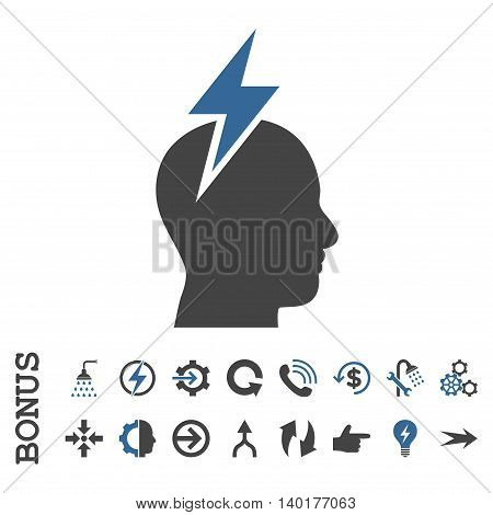 Headache vector bicolor icon. Image style is a flat iconic symbol, cobalt and gray colors, white background.