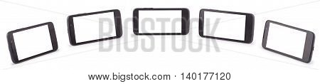 Five Smart Phone isolated on white. Ten clipping path inside separately for phone and screen.