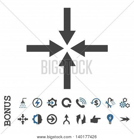 Impact Arrows vector bicolor icon. Image style is a flat iconic symbol, cobalt and gray colors, white background.