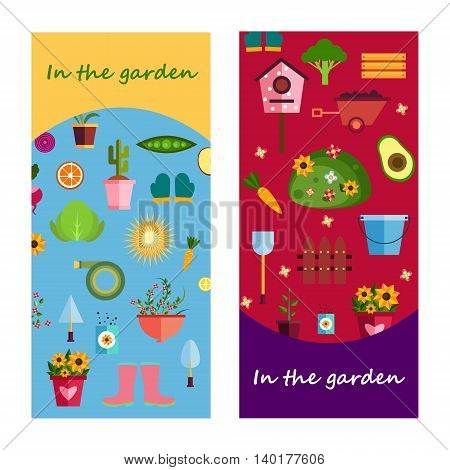 Farm life in the garden banner. illustration EPS 10
