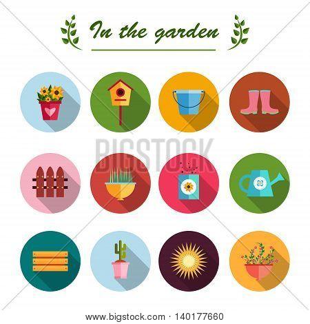 Garden flat icons illustration white background EPS 10