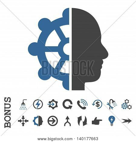 Intellect vector bicolor icon. Image style is a flat iconic symbol, cobalt and gray colors, white background.