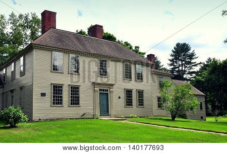 Weston Massachusetts - July 14 2013: The historic 1768 Golden Ball Tavern now fully restored and operated as a colonial-era museum