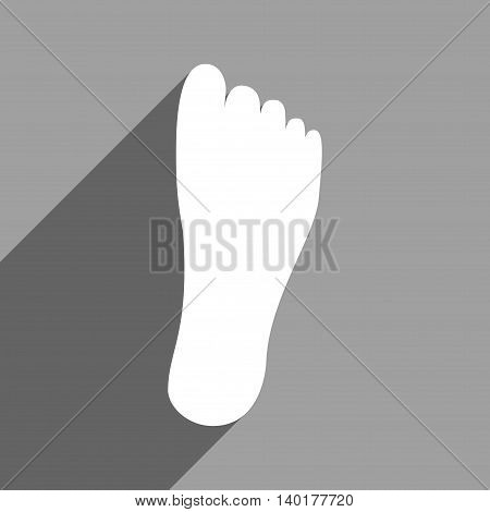Foot Sole long shadow vector icon. Style is a flat foot sole white iconic symbol on a gray square background.