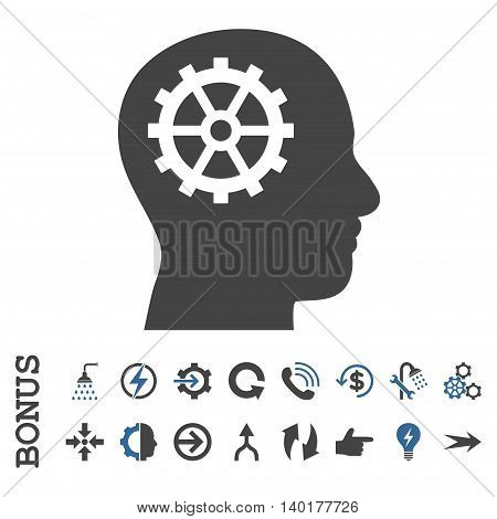 Intellect vector bicolor icon. Image style is a flat pictogram symbol, cobalt and gray colors, white background.