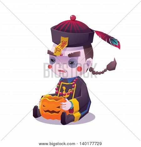 Vector Illustration of Jiangshi Chinese Hopping Vampire Ghost with Pumpkin for Halloween on White Background, Cute Character