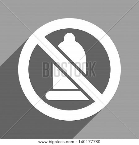 Forbidden Condom long shadow vector icon. Style is a flat forbidden condom white iconic symbol on a gray square background.