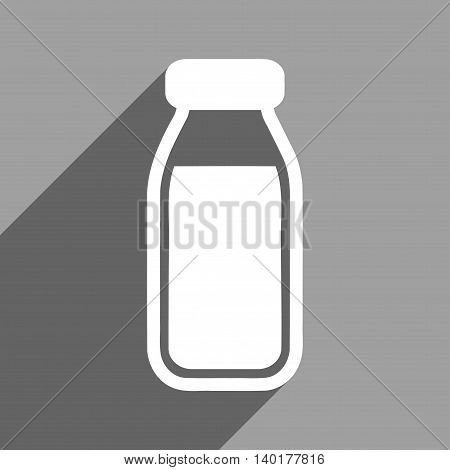 Full Bottle long shadow vector icon. Style is a flat full bottle white iconic symbol on a gray square background.