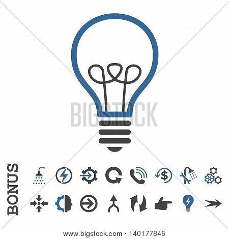 Lamp Bulb vector bicolor icon. Image style is a flat iconic symbol, cobalt and gray colors, white background.
