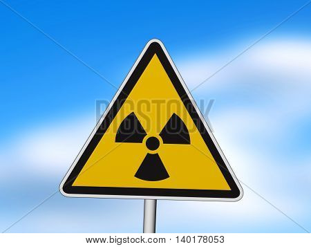 sign of radiation 3D illustration. symbol orange danger