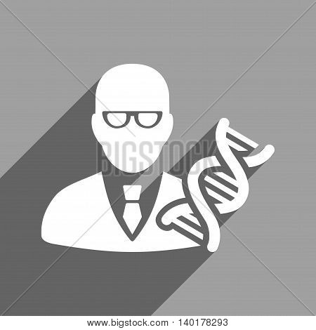 Genetic Engineer long shadow vector icon. Style is a flat genetic engineer white iconic symbol on a gray square background.