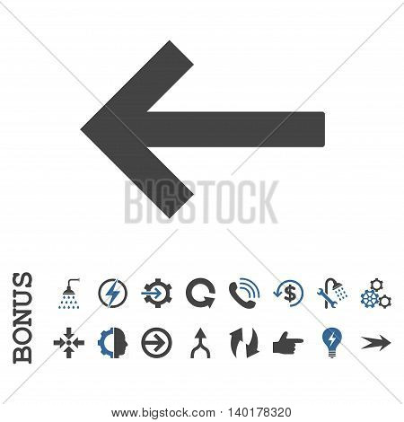 Left Arrow vector bicolor icon. Image style is a flat pictogram symbol, cobalt and gray colors, white background.