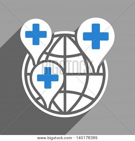 Global Clinic Company long shadow vector icon. Style is a flat global clinic company white iconic symbol on a gray square background.