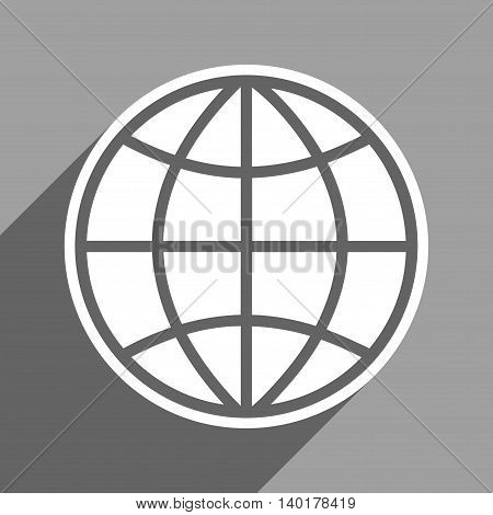Globe long shadow vector icon. Style is a flat globe white iconic symbol on a gray square background.