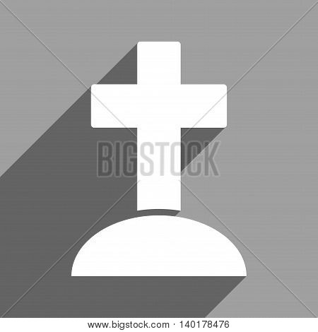 Grave long shadow vector icon. Style is a flat grave white iconic symbol on a gray square background.