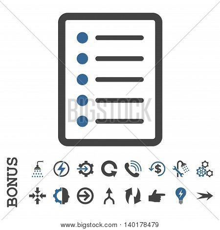 List Page vector bicolor icon. Image style is a flat iconic symbol, cobalt and gray colors, white background.
