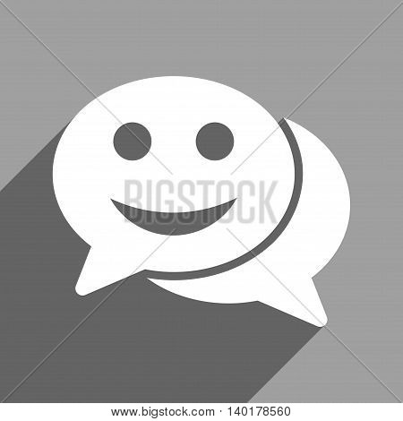 Happy Chat long shadow vector icon. Style is a flat happy chat white iconic symbol on a gray square background.