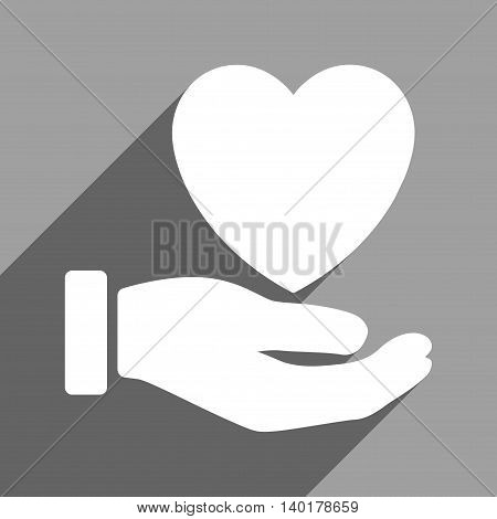 Heart Charity Hand long shadow vector icon. Style is a flat heart charity hand white iconic symbol on a gray square background.