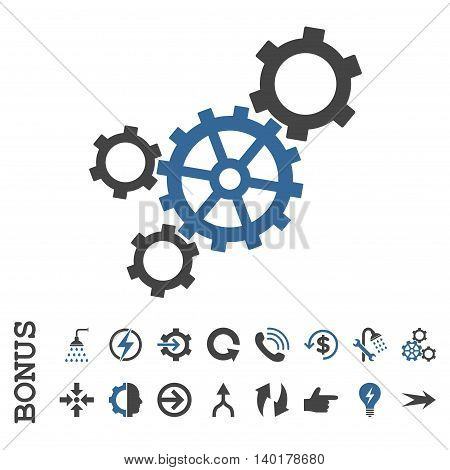 Mechanism vector bicolor icon. Image style is a flat iconic symbol, cobalt and gray colors, white background.