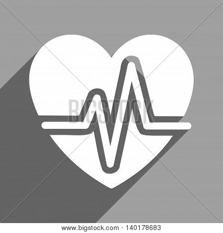 Heart Diagram long shadow vector icon. Style is a flat heart diagram white iconic symbol on a gray square background.