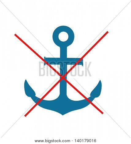 Stop or ban sign with anchor icon isolated