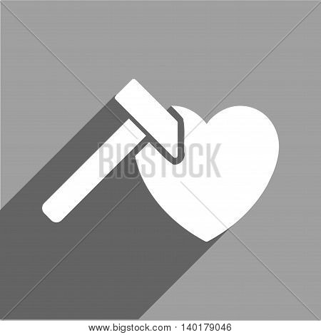 Heart Hammer long shadow vector icon. Style is a flat heart hammer white iconic symbol on a gray square background.