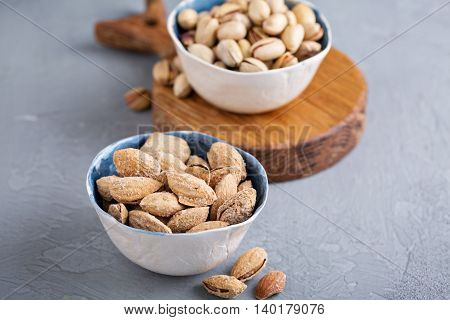 Salted almonds and pistachios in a shell on gray background