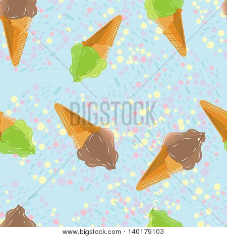 Seamless pattern with ice cream in a waffle cone pistachio and chocolate treat