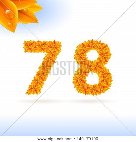 Sans serif font with autumn leaf decoration on white background. 7 and 8 numerals