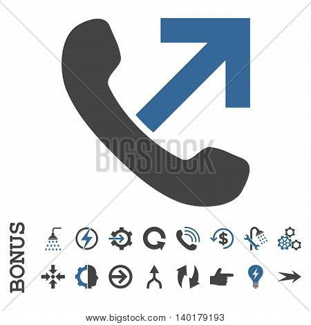 Outgoing Call vector bicolor icon. Image style is a flat iconic symbol, cobalt and gray colors, white background.
