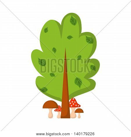 Vector cartoon illustration with mushrooms under the tree. Colorful cartoon forest with mushrooms and amanita. Vector fantasy forest for you design. Child book cover or illustration