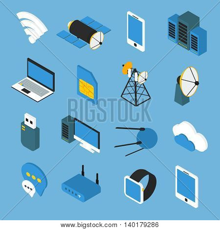 Wireless technology isometric icons with wifi sign router transmitters satellites gadgets on blue background isolated vector illustration