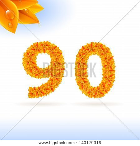Sans serif font with autumn leaf decoration on white background. 9 and 0 numerals