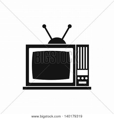 Retro TV icon in simple style isolated on white background. Viewing symbol