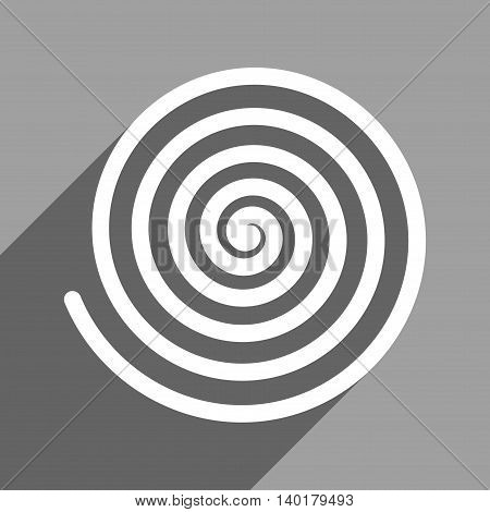 Hypnosis long shadow vector icon. Style is a flat hypnosis white iconic symbol on a gray square background.